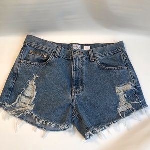Calvin Klein distressed cutoff denim shorts
